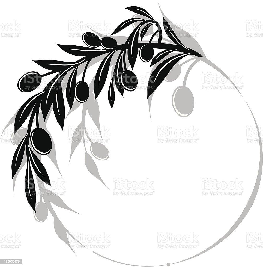 Olives Branch Swirl Design Element vector art illustration