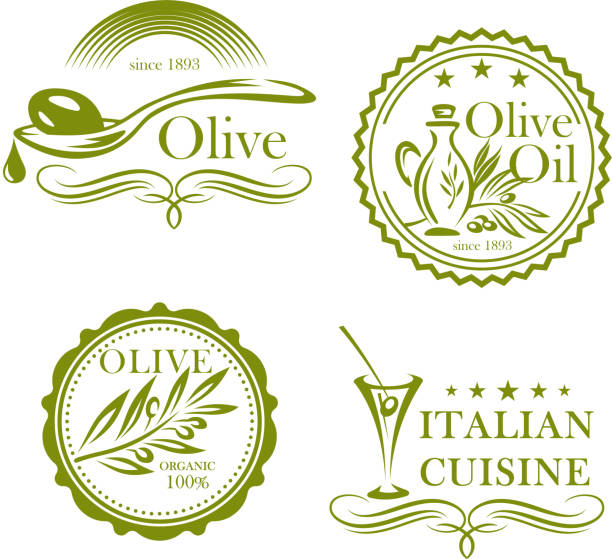 oliven, olivenöl vektor isoliert beschriftungssatz symbole - dressing stock-grafiken, -clipart, -cartoons und -symbole