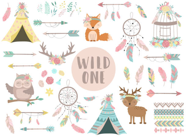 Сollection of hand-drawn boho style icons. The image of animals, arrows, feathers, flowers, wigwam, dreamcatcher. Vector by national american motifs for baby, cards, flyers, posters, prints, holiday Сollection of hand-drawn boho style icons. The image of animals, arrows, feathers, flowers, wigwam, dreamcatcher. Vector by national american motifs for baby, cards, flyers, posters, prints, holiday teepee stock illustrations