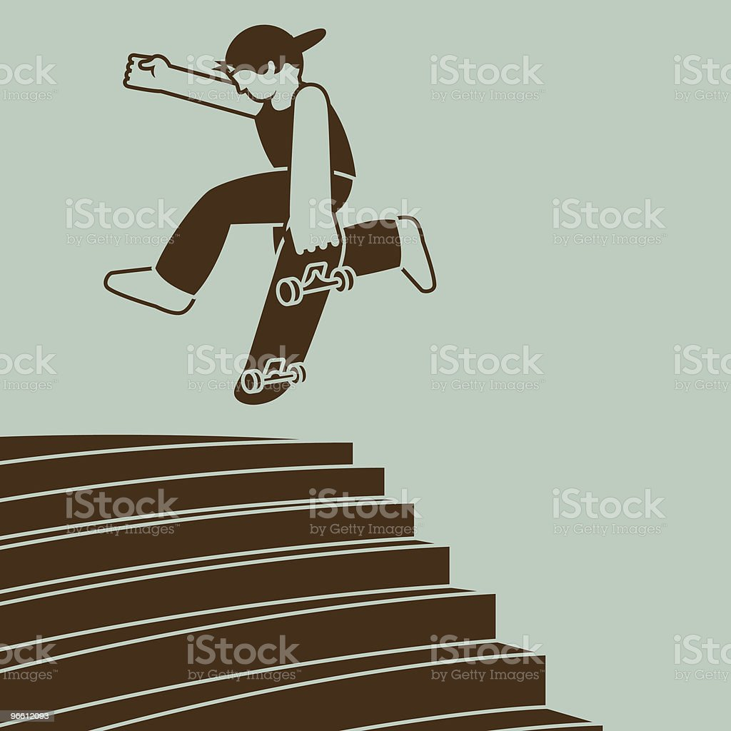 Ollie airwalk on skateboard - Royalty-free Casual Clothing stock vector