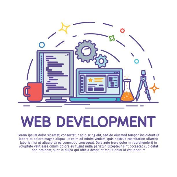 Сolored line art banner design concept for creative studio. Modern flat design for Web Banner, Website Element. Website development, Web design. vector art illustration