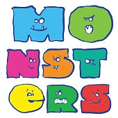 Monster letters of different colors.