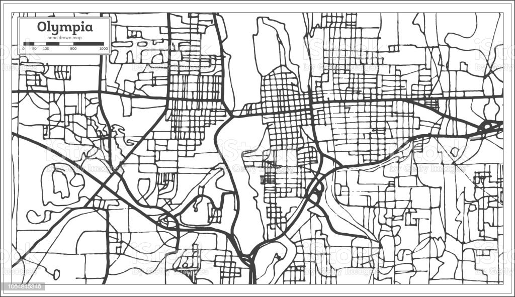 Olympia Washington Usa City Map In Retro Style Outline Map Stock ...
