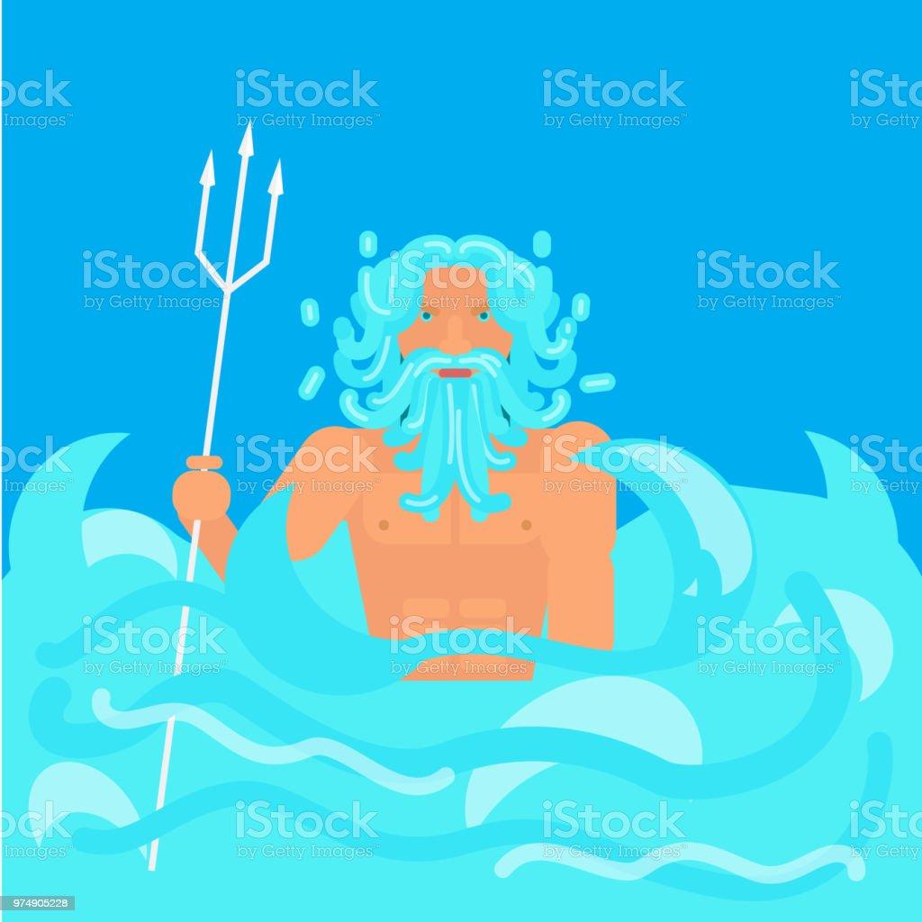 olympic god flat style vector art illustration