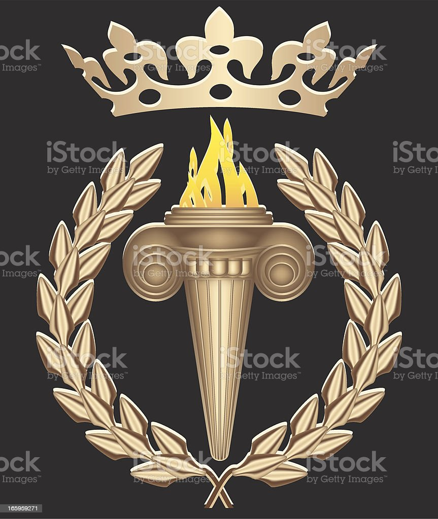 Olympic Torch With Crown vector art illustration