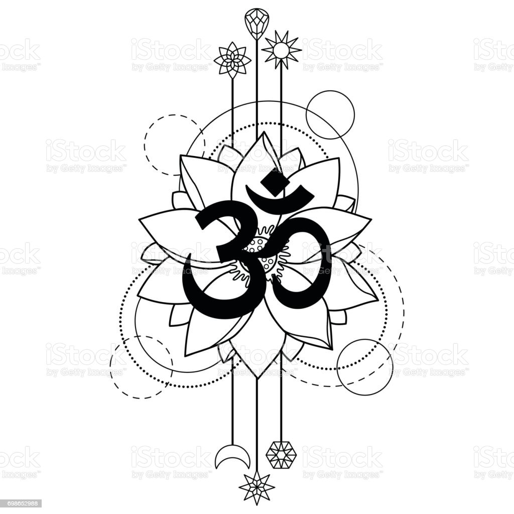 Om And Lotus Tattoo Stock Vector Art More Images Of Abstract