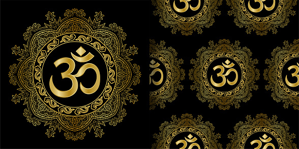 Om and Mandala print and seamless pattern set