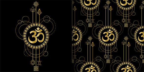 Om Gold geometric print and seamless pattern set