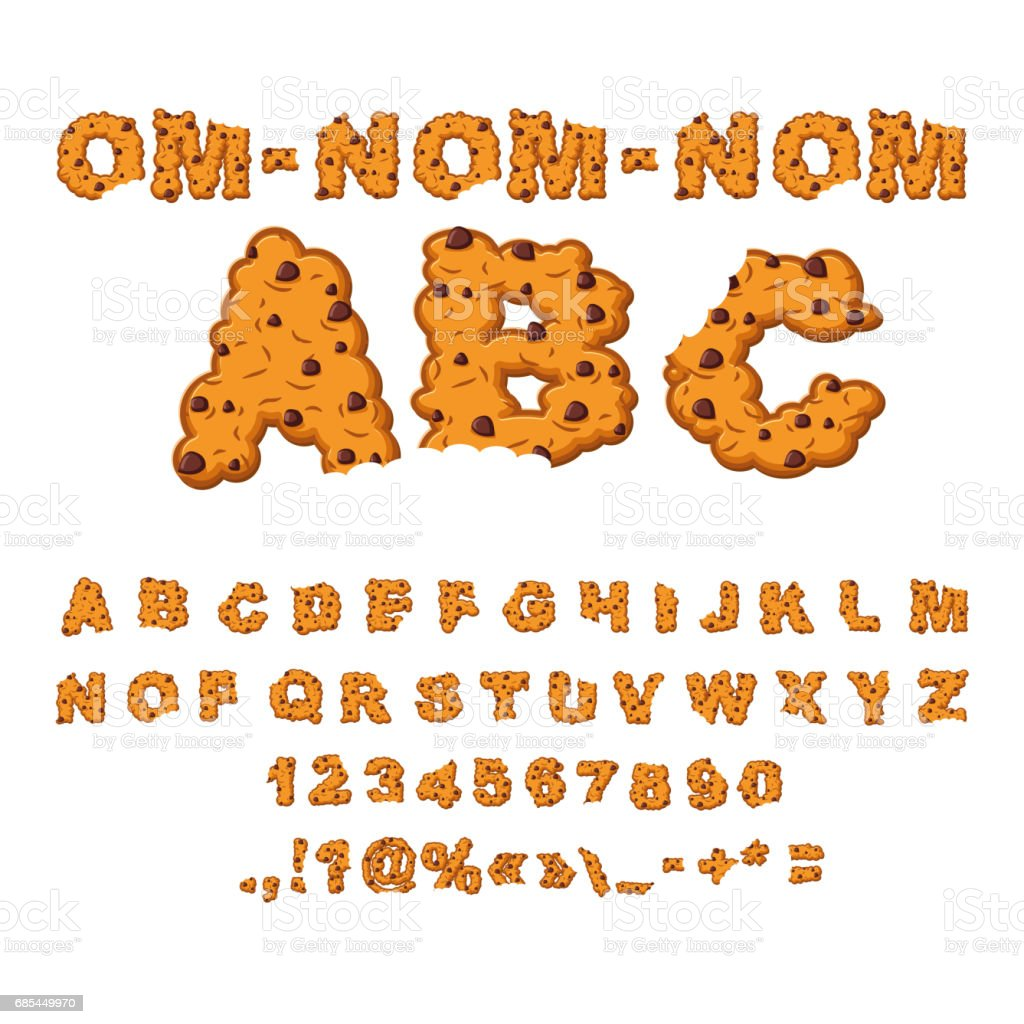Om nom nom ABC. Cookies font. Biscuits with chocolate Drops alphabet. Letters of cookie. Food lettering. Edible typography. Crackers and oatmeal pastry vector art illustration