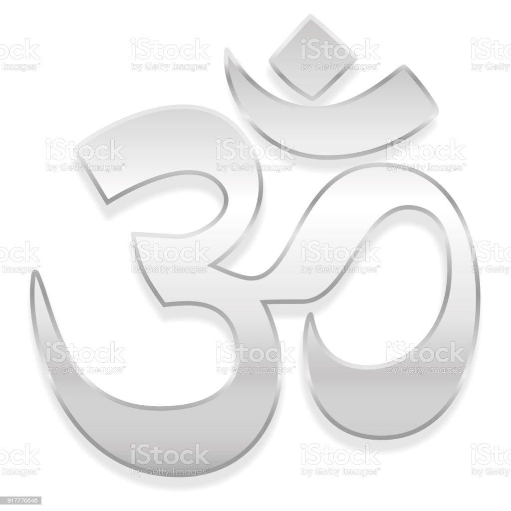 OM oder Aum Symbol. Geistige Heilung Silber Symbol des Buddhismus und Hinduismus - isolierte Vektor-Illustration auf weißem Hintergrund. – Vektorgrafik