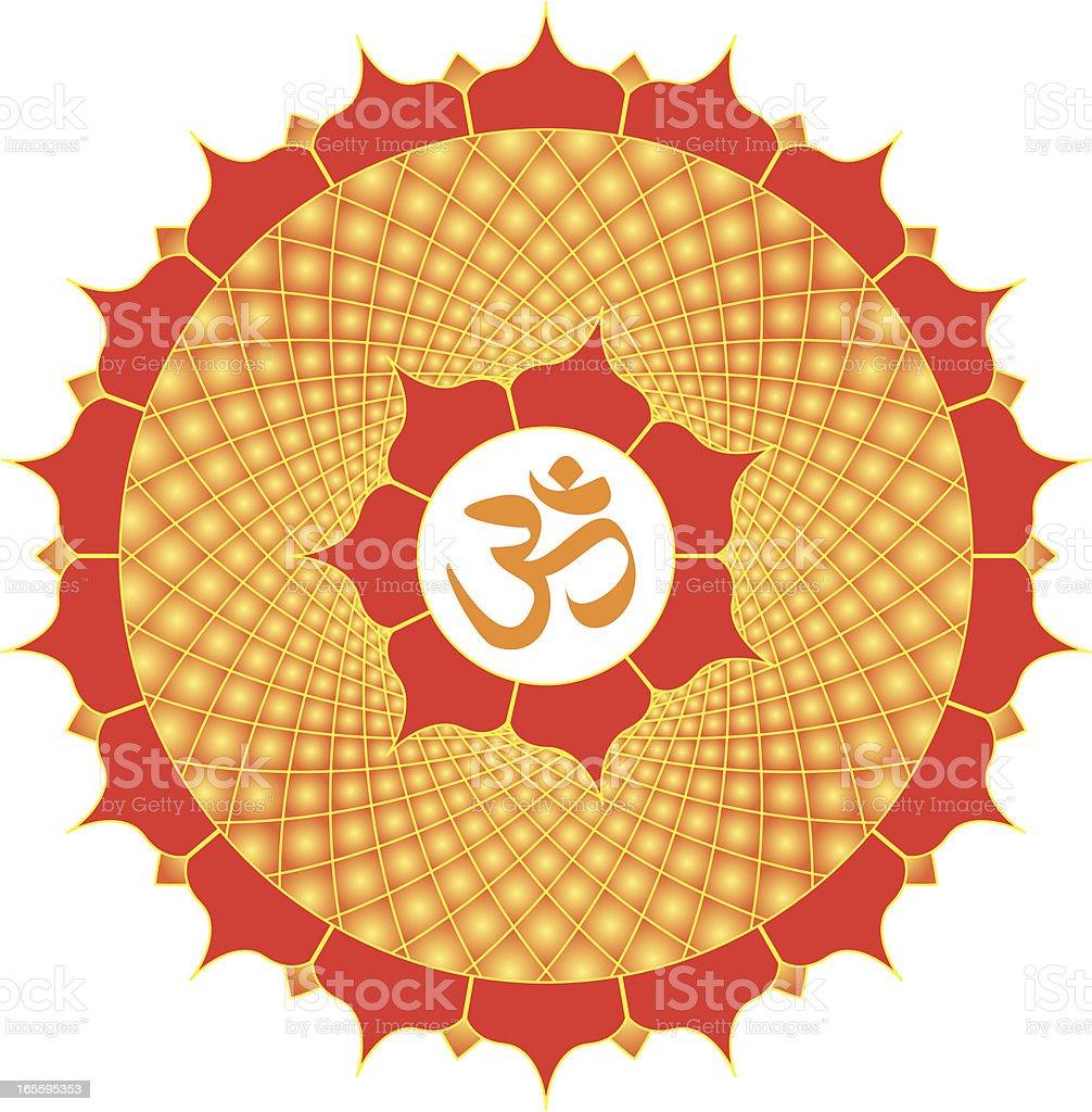 Om or Aum  Symbol with meditative mandala, Vector Illustration royalty-free stock vector art