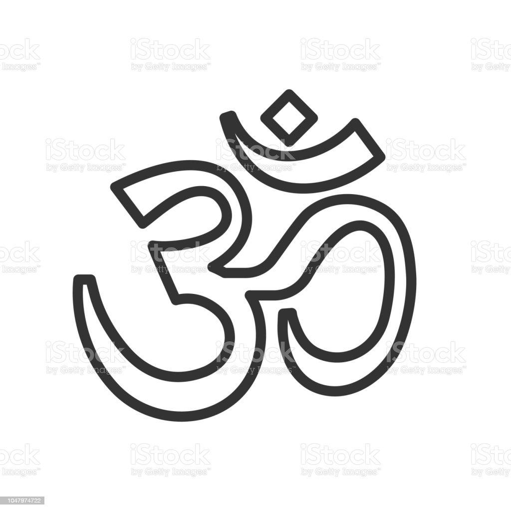 Om Symbol Thin Line Icon Vector Calligraphic Illustration Yoga Hindu