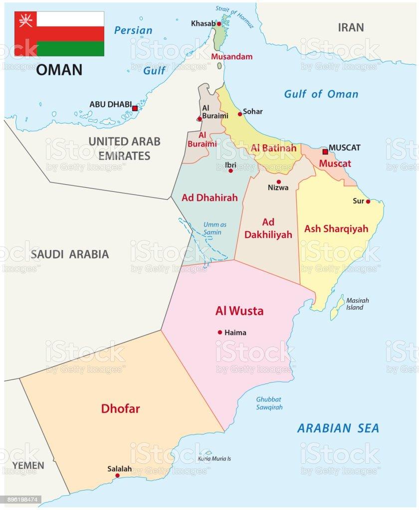 Karte Oman.Administrative Und Politische Karte Oman Mit Flagge Stock Vektor Art