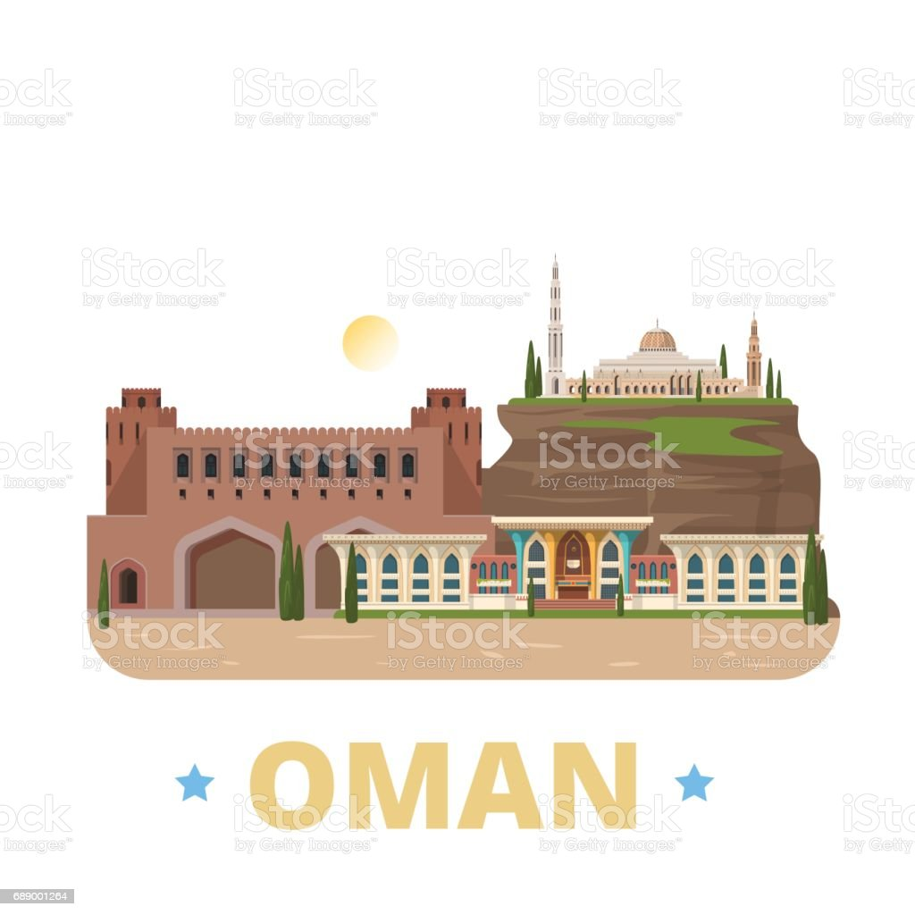 Oman country design flat cartoon style historic showplace web site vector illustration. World vacation travel sightseeing Asia Asian collection. Al Alam Palace Sultan Qaboos Grand Mosque Muscat Gate. vector art illustration