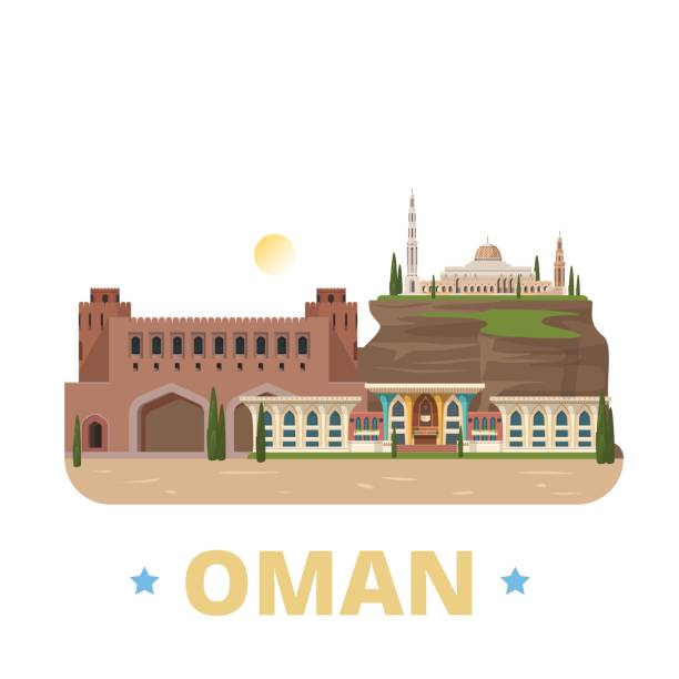 oman country design flat cartoon style historic showplace web site vector illustration. world vacation travel sightseeing asia asian collection. al alam palace sultan qaboos grand mosque muscat gate. - oman stock illustrations