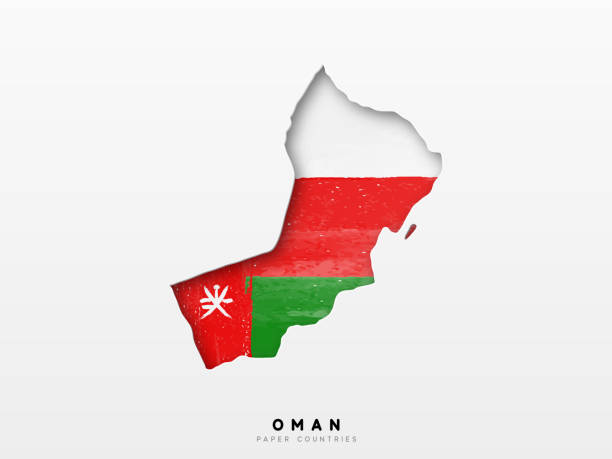 oman detailed map with flag of country. painted in watercolor paint colors in the national flag - oman stock illustrations