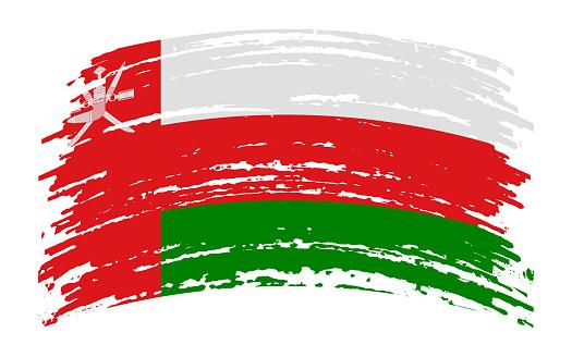 Oman flag in grunge brush stroke, vector