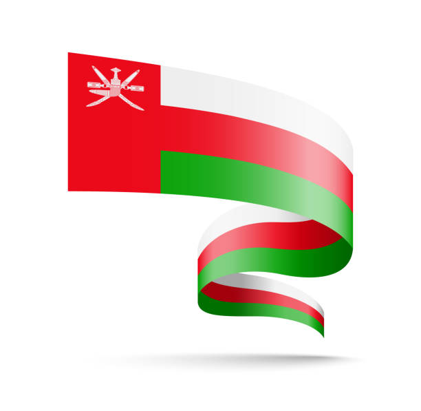oman flag in the form of wave ribbon. - oman stock illustrations