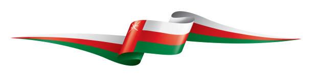 oman flag, vector illustration on a white background - oman stock illustrations