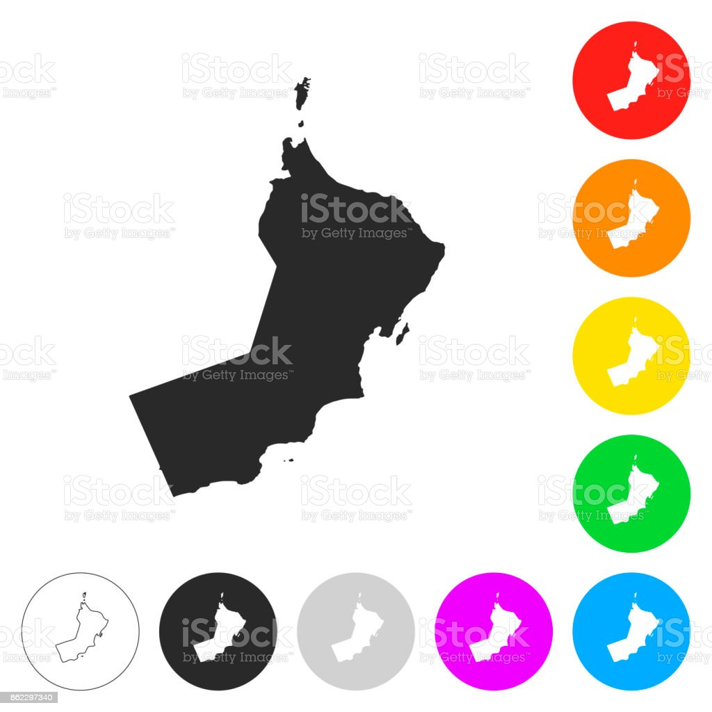 Oman map - Flat icons on different color buttons vector art illustration