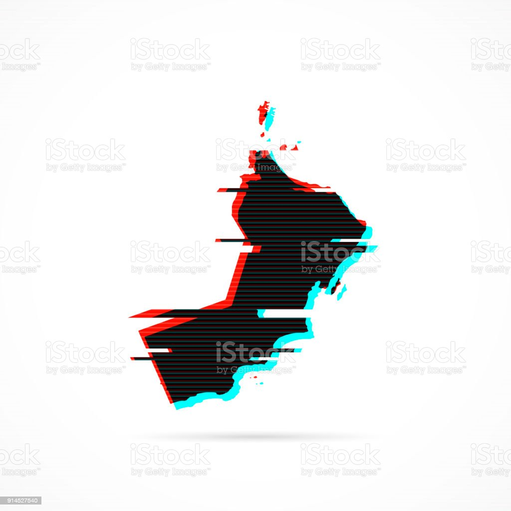 Oman map in distorted glitch style. Modern trendy effect vector art illustration