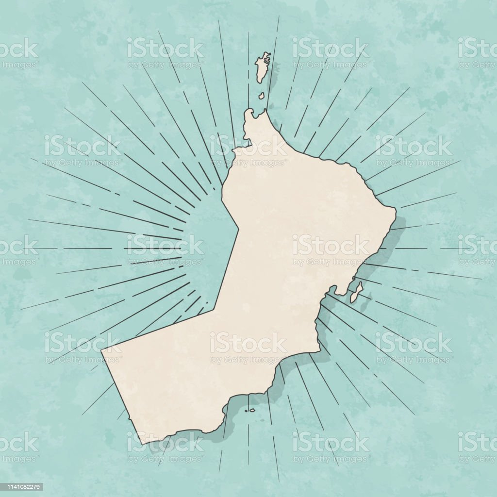 Map of Oman in a trendy vintage style. Beautiful retro illustration...
