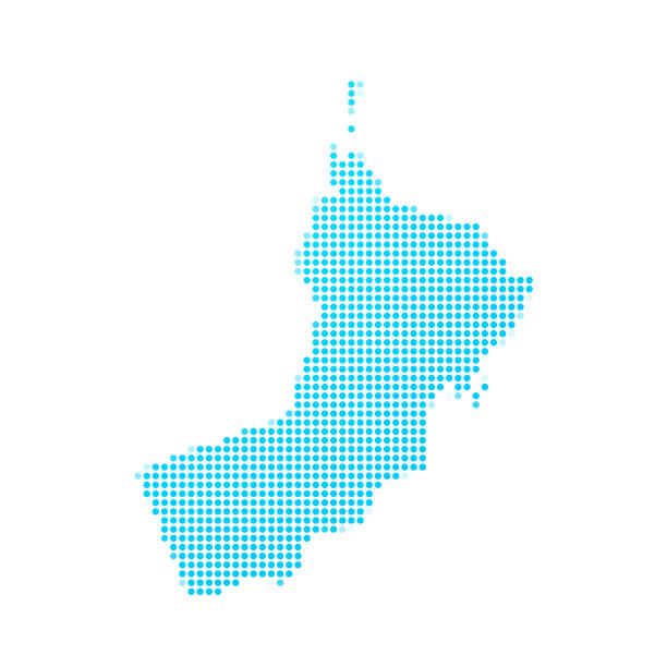 oman map of blue dots on white background - oman stock illustrations