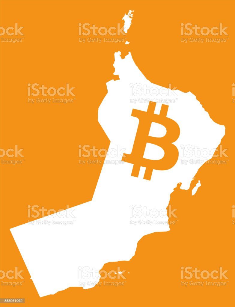 Oman Map With Bitcoin Crypto Currency Symbol Illustration Stock