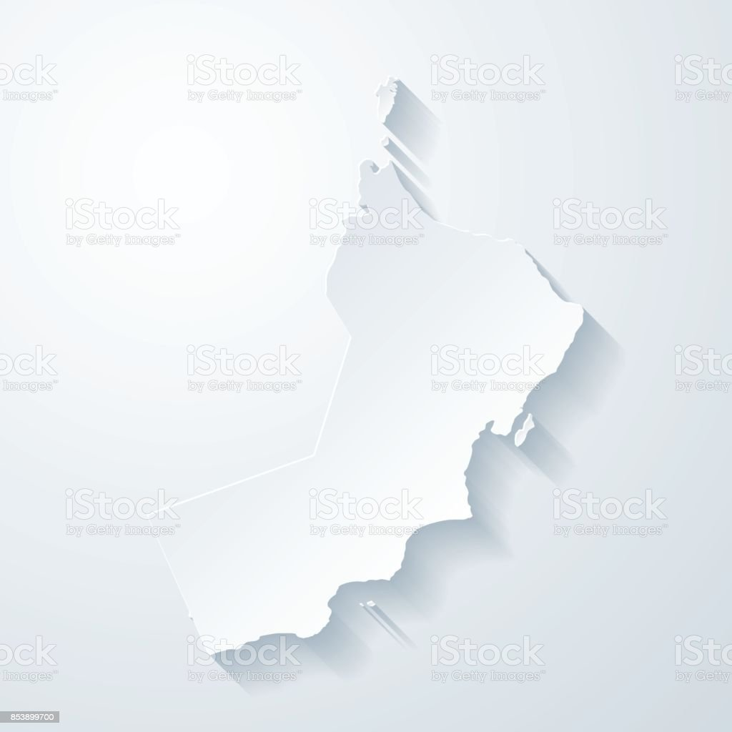 Oman map with paper cut effect on blank background vector art illustration