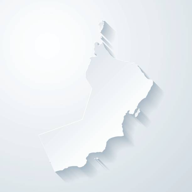 oman map with paper cut effect on blank background - oman stock illustrations