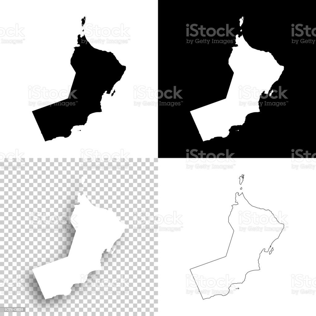 Oman Maps For Design Blank White And Black Backgrounds - Arte
