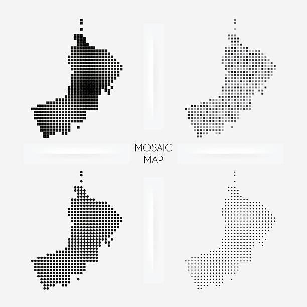 oman mapy-mozaiki squarred i groszki - oman stock illustrations