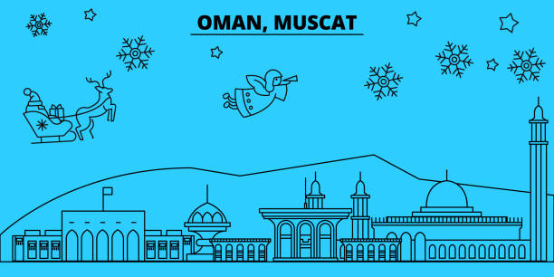 oman, mascat winter holidays skyline. merry christmas, happy new year decorated banner with santa claus.oman, mascat linear christmas city vector flat illustration - oman stock illustrations