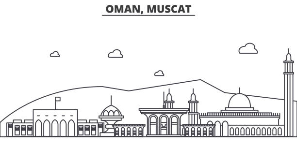 oman, muscat architecture line skyline illustration. linear vector cityscape with famous landmarks, city sights, design icons. landscape wtih editable strokes - oman stock illustrations
