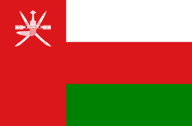 oman national flag, official flag of oman accurate colors, true color - oman stock illustrations