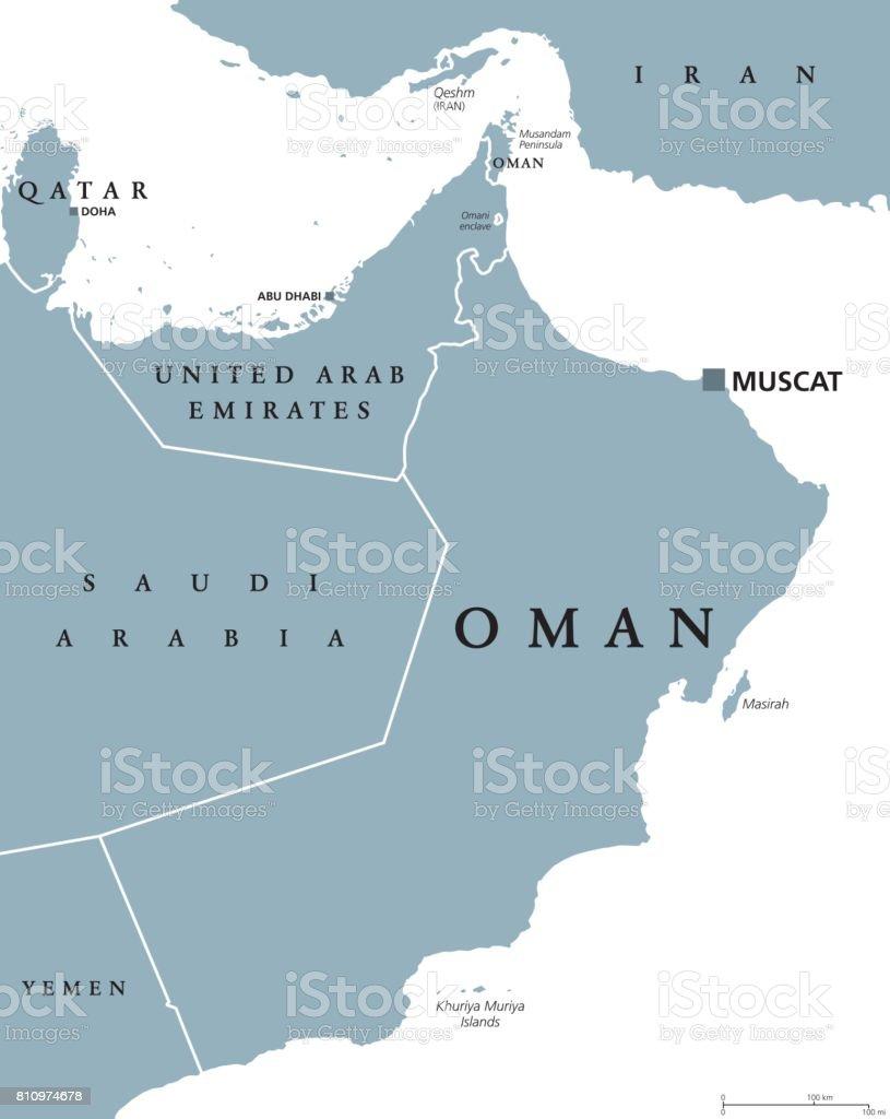 Oman political map vector art illustration
