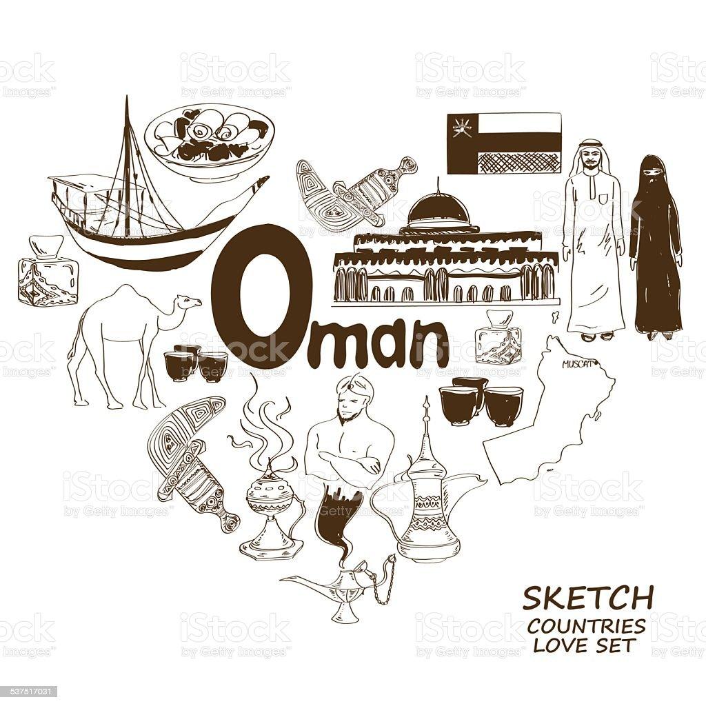 Oman symbols in heart shape concept vector art illustration