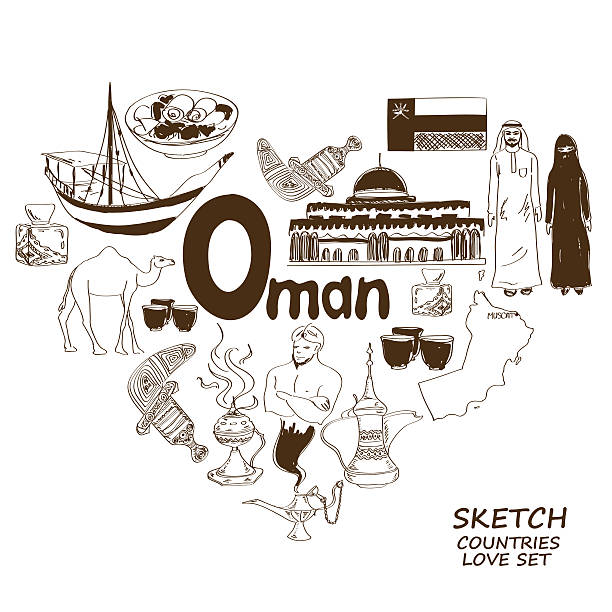 oman symbole w sercu kształt koncepcji - oman stock illustrations