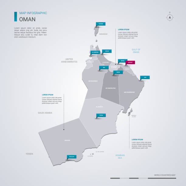 oman vector map with infographic elements, pointer marks. - oman stock illustrations