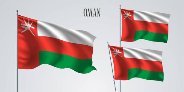 oman waving flag set of vector illustration - oman stock illustrations