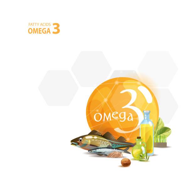 bildbanksillustrationer, clip art samt tecknat material och ikoner med omega 3. grunderna i hälsosam kost. - omega 3