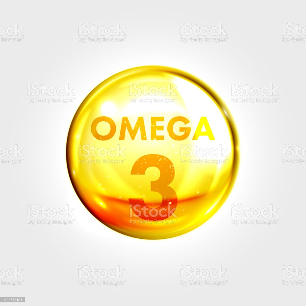Omega 3 icon drop gold pill capsule vector art illustration