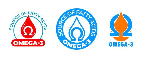bildbanksillustrationer, clip art samt tecknat material och ikoner med omega 3 ikon, vitamin och fiskolja droppe, fettsyra kapsel, essentiella fleromättade syror. omega 3 tecken för kosttillskott och hälsosam kost - omega 3