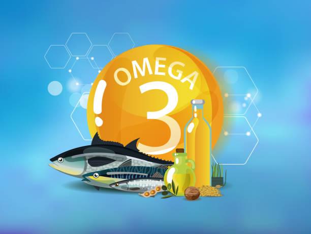 bildbanksillustrationer, clip art samt tecknat material och ikoner med omega 3. naturlig ekologisk mat - omega 3