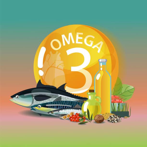 bildbanksillustrationer, clip art samt tecknat material och ikoner med omega 3. fleromättade fettsyror. - omega 3