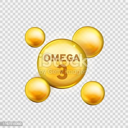 Omega 3. Vitamin drop, fish oil capsule, gold essence organic nutrition. Skin care advertising realistic vector product isolated healthy supplement yellow design