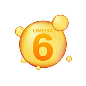 Omega 6 gold icon. Vitamin drop pill capsule. Shining golden essence droplet. Vector stock illustration.