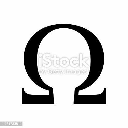 Black Omega greek sign on white background