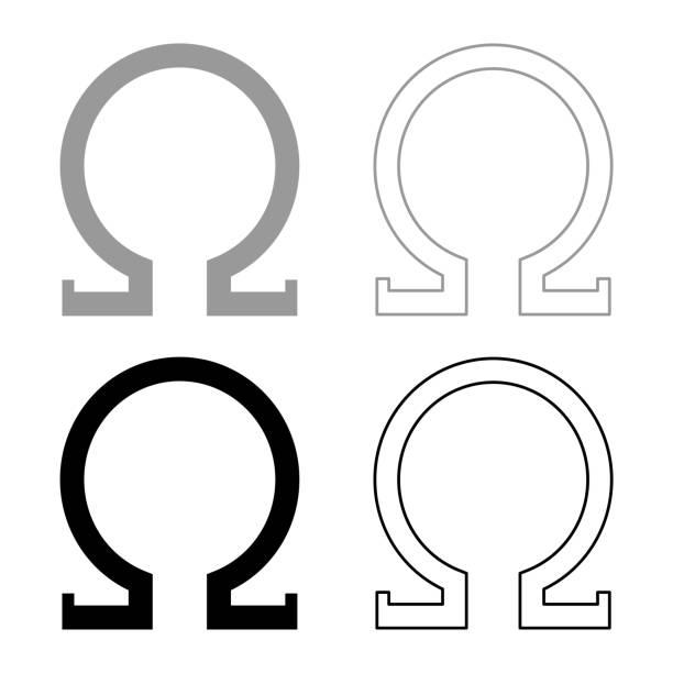 bildbanksillustrationer, clip art samt tecknat material och ikoner med omega grekisk symbol versal versal teckensnitt ikon kontur som svart grå färg vektor illustration platt stil bild - omega 3