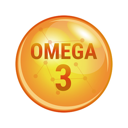 Omega-3 fatty acid capsule. Vector icon for health. ALA, EPA, DHA.